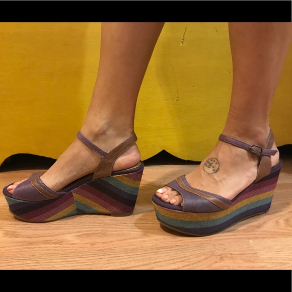 BC Footwear Shoes - Rainbow wedges by BC size 8